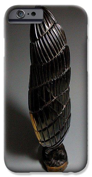 Wooden Sculptures iPhone Cases - Dark Matter 4 iPhone Case by Abram Barrett