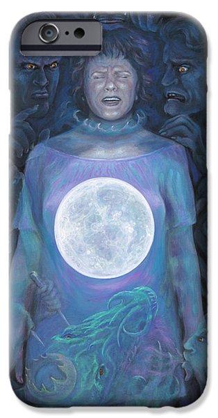 Inner Self Paintings iPhone Cases - Dark Night iPhone Case by Brenda Ferrimani