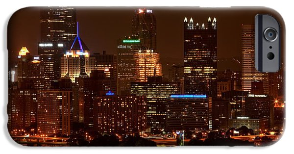 City Scape iPhone Cases - Dark Pittsburgh Skyline iPhone Case by Adam Jewell