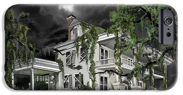 Thunder Paintings iPhone Cases - Dark Plantation House iPhone Case by James Christopher Hill