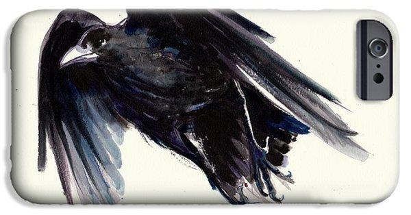 Sombre iPhone Cases - Dark Raven in Flight - Crow Flying iPhone Case by Tiberiu Soos