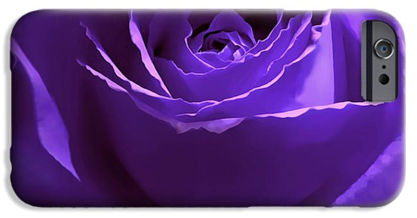 Close Up iPhone Cases - Dark Secrets Purple Rose iPhone Case by Jennie Marie Schell