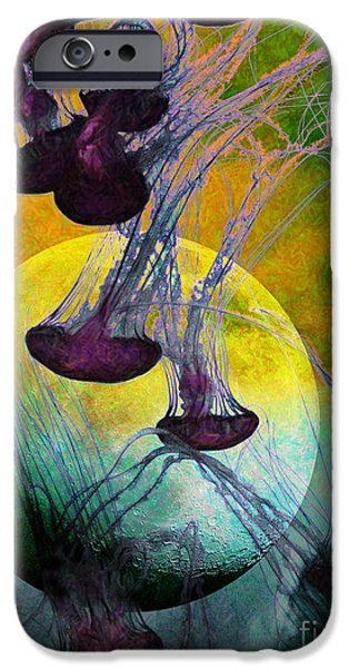 Jelly Fish iPhone Cases - Dark Side Of The Moon 5D24939 Painterly m111 iPhone Case by Wingsdomain Art and Photography