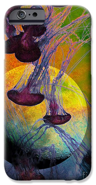 Jelly Fish iPhone Cases - Dark Side Of The Moon 5D24939 Painterly m56 iPhone Case by Wingsdomain Art and Photography