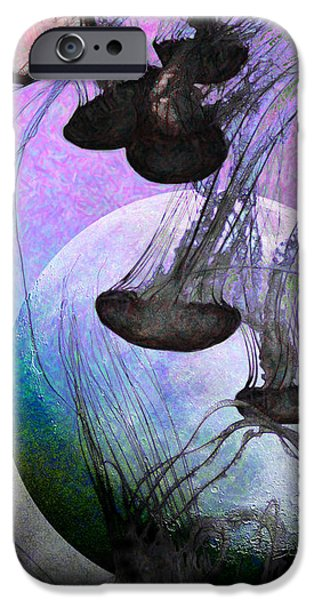 Jelly Fish iPhone Cases - Dark Side Of The Moon 5D24939 Painterly p180 Long iPhone Case by Wingsdomain Art and Photography