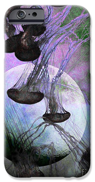 Jelly Fish iPhone Cases - Dark Side Of The Moon 5D24939 Painterly p180 iPhone Case by Wingsdomain Art and Photography