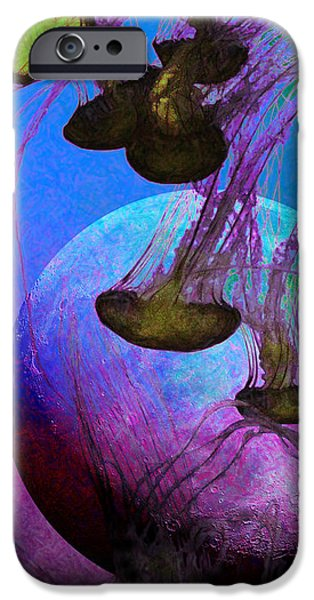 Jelly Fish iPhone Cases - Dark Side Of The Moon 5D24939 Painterly p88 Long iPhone Case by Wingsdomain Art and Photography