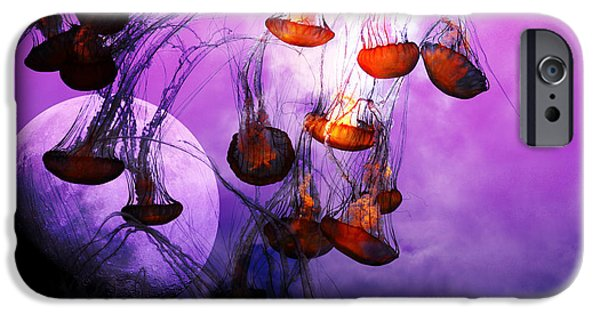 Jelly Fish iPhone Cases - Dark Side Of The Moon 5D24939 iPhone Case by Wingsdomain Art and Photography