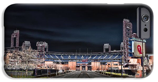 Citizens Bank Park iPhone Cases - Dark Skies at Citizens Bank Park iPhone Case by Bill Cannon