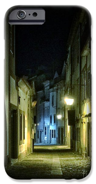 Night Lamp iPhone Cases - Dark Street iPhone Case by Carlos Caetano