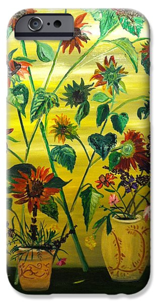 The Followers Paintings iPhone Cases - Dark Sunflowers iPhone Case by Joe Ballone