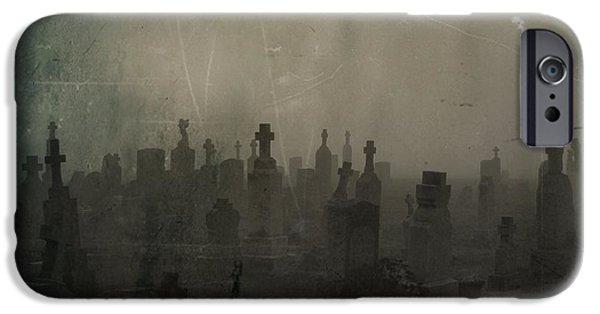 Tombstones iPhone Cases - Darkness Begins iPhone Case by Gothicolors Donna Snyder