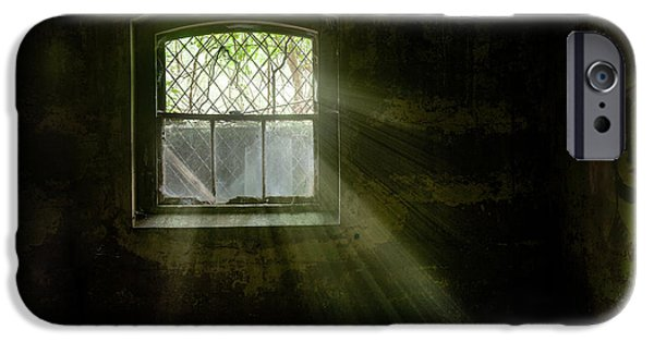 Haunted House iPhone Cases - Darkness Revealed - Basement room of an abandoned asylum iPhone Case by Gary Heller