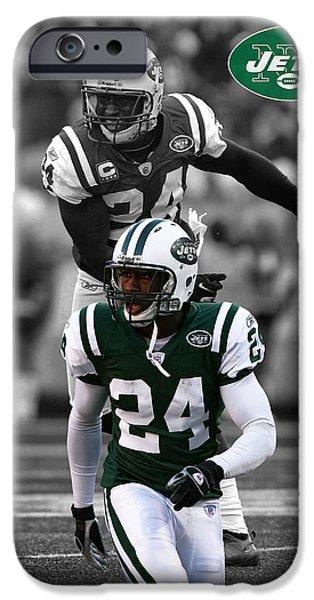 New York Jets iPhone Cases - Darrelle Revis Jets iPhone Case by Joe Hamilton