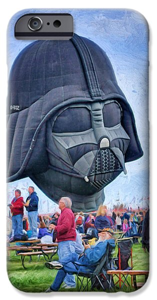 Fictional Star iPhone Cases - Darth Vader - Hot Air Balloon iPhone Case by Nikolyn McDonald