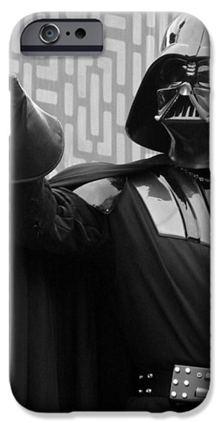 Portrait Of Evil iPhone Cases - Darth Vader iPhone Case by Ramona Johnston