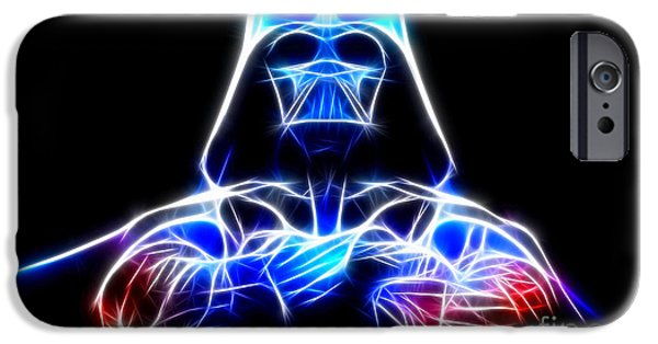 Storm Mixed Media iPhone Cases - Darth Vader - The Force Be With You iPhone Case by Pamela Johnson