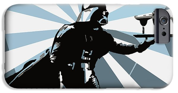 Waiter Digital iPhone Cases - Darth Waiter Blue graph iPhone Case by Jay Aitch