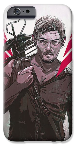 Horror Digital Art iPhone Cases - Daryl Dixon iPhone Case by Jeremy Scott