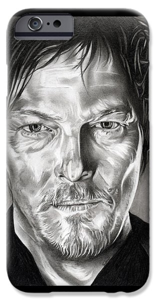 George Romero Drawings iPhone Cases - Daryl Dixon - The Walking Dead iPhone Case by Fred Larucci