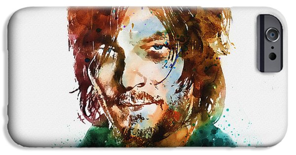 Marian iPhone Cases - Daryl Dixon watercolor portrait iPhone Case by Marian Voicu