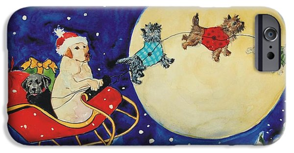 Christmas Greeting iPhone Cases - Dash Away iPhone Case by Molly Poole