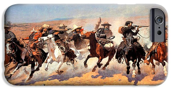 Frederic Remington iPhone Cases - Dash For The Timber iPhone Case by Frederic Remington