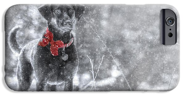 Chocolate Lab Digital Art iPhone Cases - Dashing Through the Snow iPhone Case by Lori Deiter