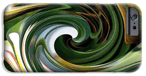 Abstract Digital Paintings iPhone Cases - Dasystemon tarda Twirls iPhone Case by J McCombie