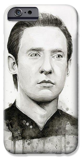 Science Fiction Paintings iPhone Cases - Data Portrait Star Trek Fan Art Watercolor iPhone Case by Olga Shvartsur