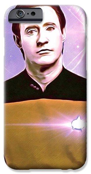 Fictional Star iPhone Cases - Data Star Trek Portrait iPhone Case by Scott Wallace