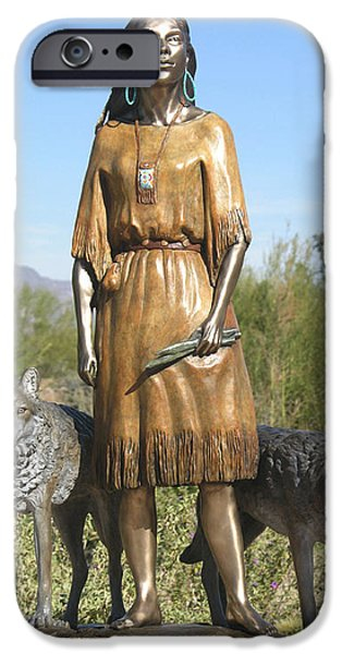 Native Sculptures iPhone Cases - Daughter Who Walks With Wolves iPhone Case by J Anne Butler