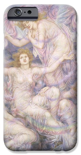 Misty Prints iPhone Cases - Daughters of the Mist iPhone Case by Evelyn De Morgan