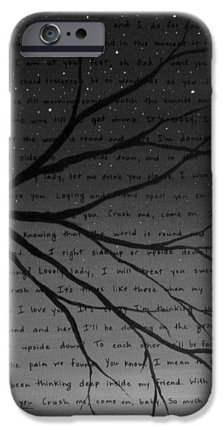 Dave iPhone Cases - Dave Matthews Band Crush Lyric Art - Black and White iPhone Case by Michelle Eshleman