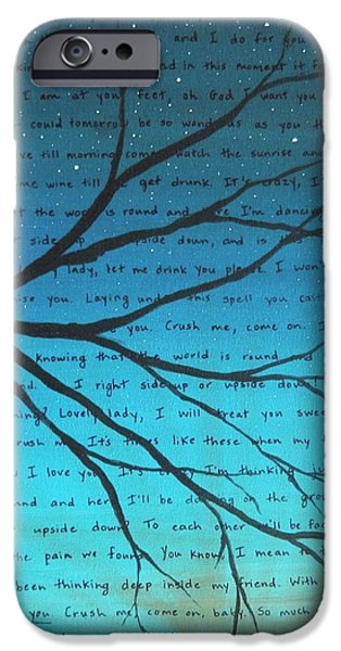 Dave iPhone Cases - Dave Matthews Band Crush Lyric Art - Blue iPhone Case by Michelle Eshleman