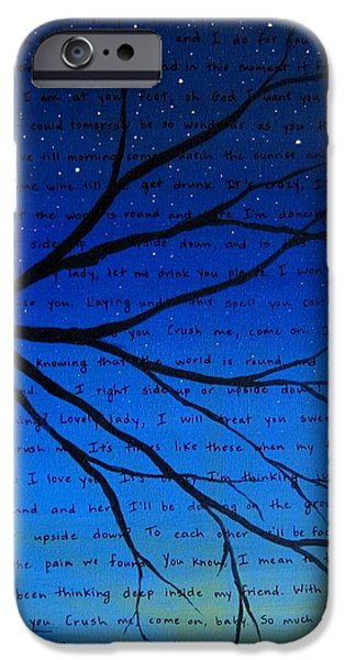 Couple iPhone Cases - Dave Matthews Band Crush Song Lyric Art iPhone Case by Michelle Eshleman