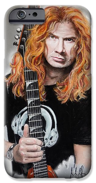 Dave Mixed Media iPhone Cases - Dave Mustaine iPhone Case by Melanie D