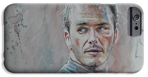 David iPhone Cases - David Beckham - Portrait 1 iPhone Case by Baresh Kebar - Kibar