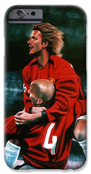 United Paintings iPhone Cases - David Beckham and Juan Sebastian Veron iPhone Case by Paul  Meijering