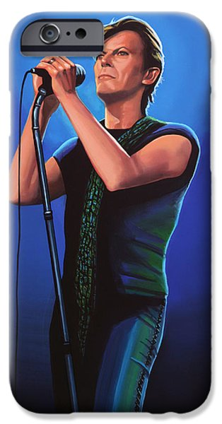 Glam Rock iPhone Cases - David Bowie 2  iPhone Case by Paul Meijering