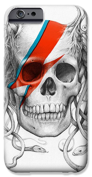 Olga Shvartsur iPhone Cases - David Bowie Aladdin Sane Medusa Skull iPhone Case by Olga Shvartsur