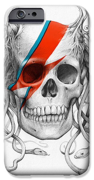 Red Rock Mixed Media iPhone Cases - David Bowie Aladdin Sane Medusa Skull iPhone Case by Olga Shvartsur