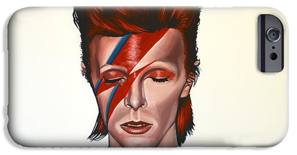 Celebrities Art iPhone Cases - David Bowie Aladdin Sane iPhone Case by Paul  Meijering