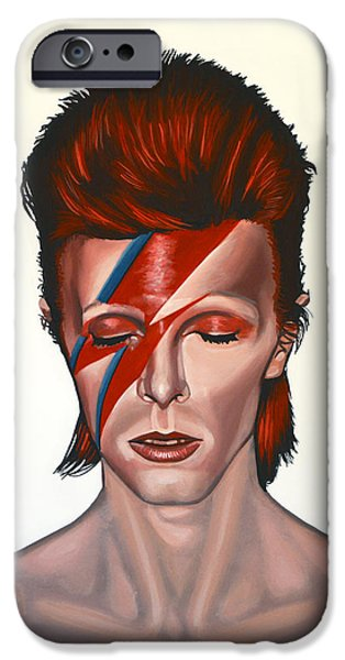 Singer-songwriter iPhone Cases - David Bowie Aladdin Sane iPhone Case by Paul  Meijering