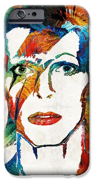 Famous Faces iPhone Cases - David Bowie Art Tribute by Sharon Cummings iPhone Case by Sharon Cummings