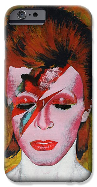 David Mixed Media iPhone Cases - David Bowie iPhone Case by Dan Haraga
