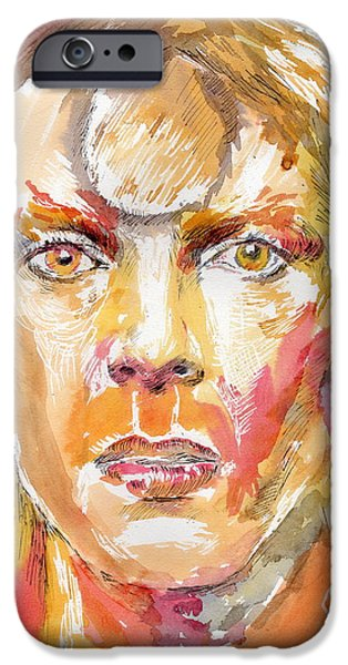 Mick Jagger Paintings iPhone Cases - David Bowie iPhone Case by Marina Sotiriou