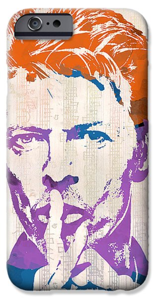 Sheets iPhone Cases - David Bowie iPhone Case by Paulette B Wright