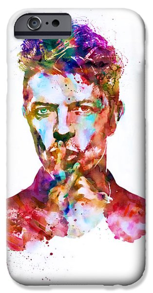 Red Rock Mixed Media iPhone Cases - David Bowie watercolor iPhone Case by Marian Voicu