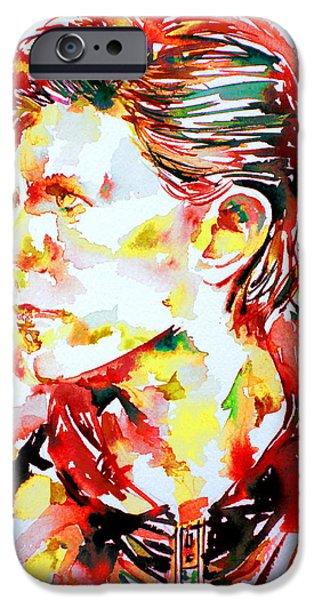 David iPhone Cases - David Bowie Watercolor Portrait.1 iPhone Case by Fabrizio Cassetta